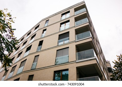 low angle view of new apartment building