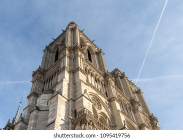 Low angle view of the Notre Dame of Paris Cathedral's tower