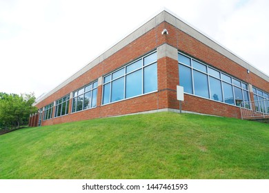 low angle view of office building corner exterior