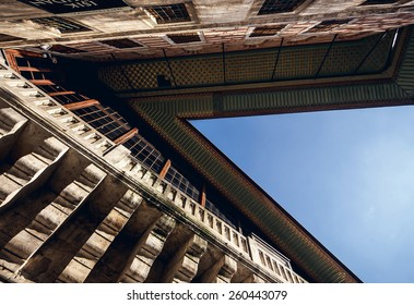Low angle view of old building with beautiful roof against blue sky in Istanbul, Turkey