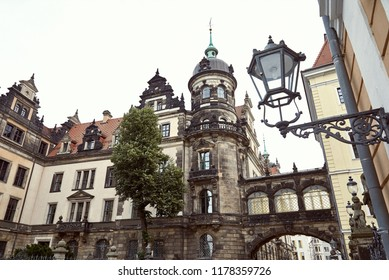 low angle view of old historical church, arch and lantern in Dresden, Germany