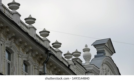 Low angle view on ornate vintage roof n baroque style with fretwork