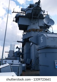 A low angle view of radars on the battleship BB-62, commonly known as Battleship New Jersey or USS New Jersey.  Camden, New Jersey, August 8, 2018