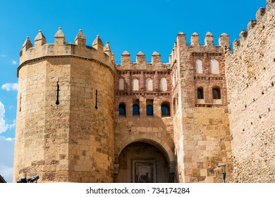 Low angle view of San Andres gate on the wall of Segovia, the main gateway to the Jewish quarter.