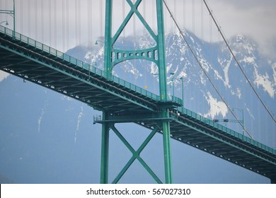 Low angle view of a section of Vancouver's Lions Gate Bridge in winter/Lions Gate Bridge During the Winter Months/A view of a section of Vancouver's Lions Gate Bridge in winter