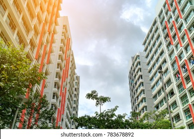 low angle view of Singapore Public Housing Apartments in Punggol District, Singapore.