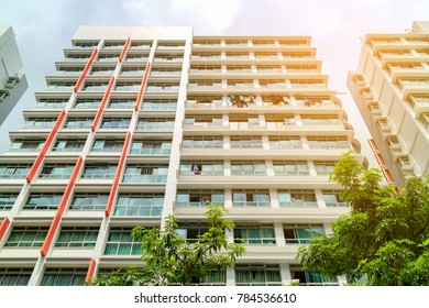 low angle view of Singapore Public Housing Apartments in Punggol District, Singapore. Housing Development Board(HDB), low-rise condominium with sunlight effect