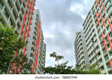 low angle view of Singapore Public Housing Apartments in Punggol District, Singapore. Housing Development Board(HDB), low-rise condominium