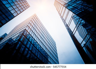 low angle view of skyscrapers in city of China.