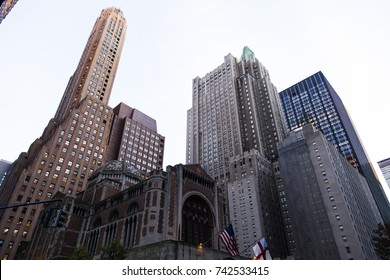 Low angle view of skyscrapers cluster in Manhattan, New-York.