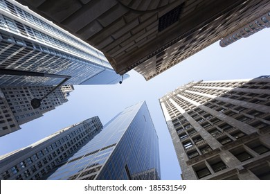 Low angle view of skyscrapers in the Financial District of New York, USA
