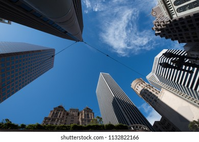 Low angle view of skyscrapers, North Beach, San Francisco, California, USA