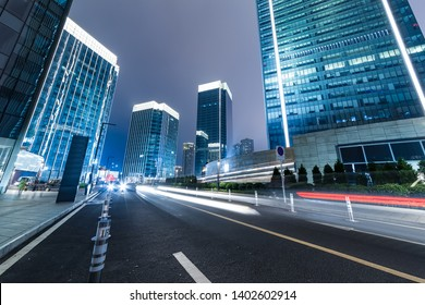 low angle view of skyscrapers and sky at night in chongqing jiangbei district, china.