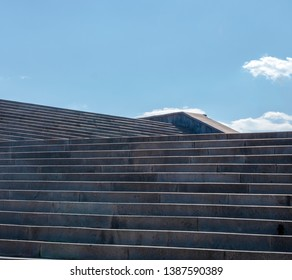 Low angle view of stairway, L shaped stairs