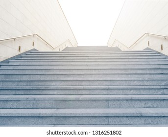 Low angle view of stairway leading from underground or subway