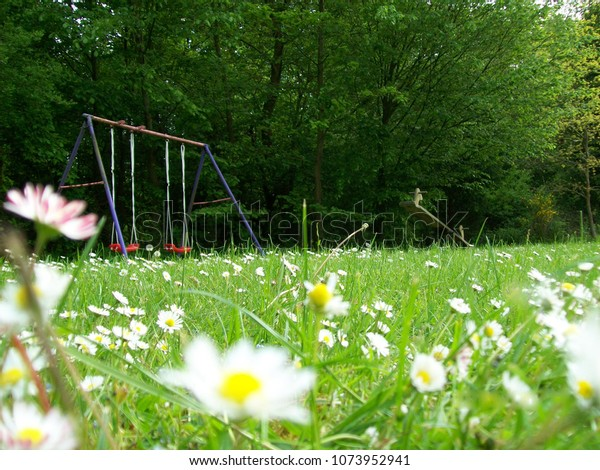 Low Angle View Swing Set Wooden Stock Photo Edit Now 1073952941