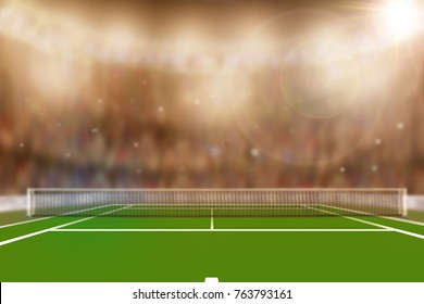 Low angle view of Tennis court full of spectators in the stands with camera flashes and lens flare. Deliberate focus on foreground with copy space.