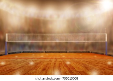 Low angle view of volleyball arena with sports fans in the stands and copy space. Focus on foreground with deliberate shallow depth of field on background.