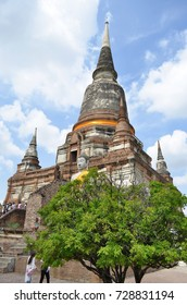 Low angle view of the Wat Yai Chai Mongkhon in Ayutthaya, Thailand - April 14th, 2017