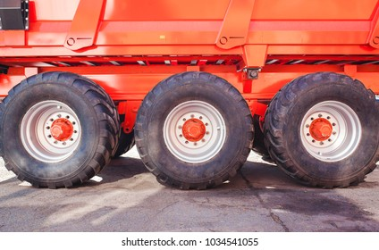 Low angle view of wheels of heavy large truck