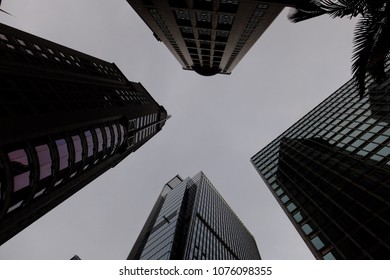 Low angled and structured view of high rise buildings in Central, Hong Kong.