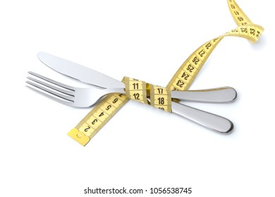 Low calorie diet for weight loss. Fork and knife are wrapped in  yellow measuring tape Isolated on white background