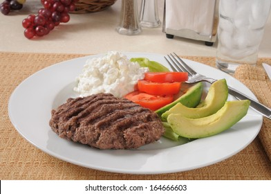 A low carb diet meal with a grilled sirloin patty and avocado