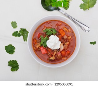 Low carb goulash soup with sour cream