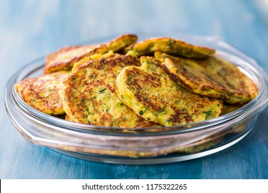 Low carb zucchini pancake in bowl