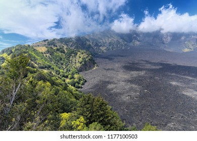 low clouds on Bove Valley in Etna Park, Sicily