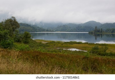 Low clouds over Loch Ard, Queen Elizabeth Forest, Loch Lomond and The Trossachs National Park, Scotland, UK.