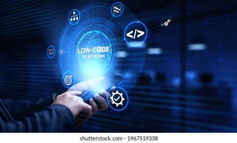 Low Code software development platform technology concept.