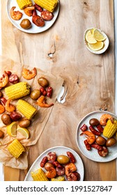 A low country homemade traditional  Southern U.S. Shrimp Boil with sausage, potato and corn