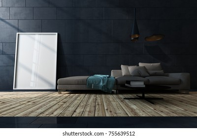 Low dark brown sofa against a black tiled wall in a low angle view over a wood floor of a living room interior with blank white picture frame leaning on the wall. 3d Rendering