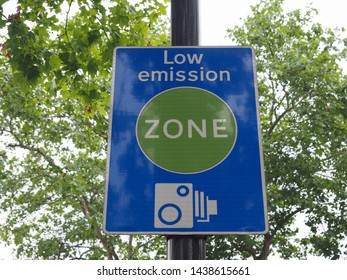 Low emission zone sign in London, UK