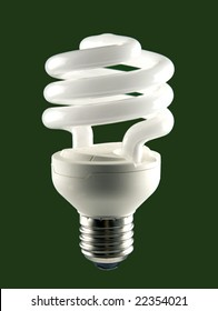 Low energy Bulb on green background