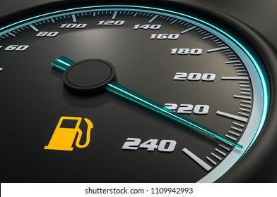 Low fuel level light on car dashboard. 3D rendered illustration.