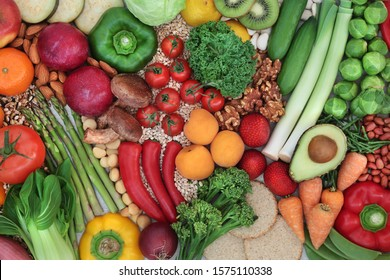 Low glycemic health food for a diabetic diet with foods high in vitamins, minerals, anthocyanins, antioxidants, smart carbs, protein & omega 3 fatty acids. Below 55 on the GI index. Top view.