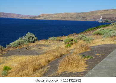 Low hills of the Columbia Gorge near the Bonneville Dam in Oregon