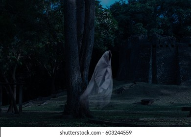 Low key image a blur white ghost under the tree in ancient forest.