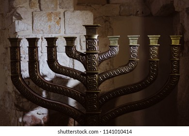 Low key Image of jewish holiday Hanukkah background with menorah (traditional candelabra) without candles
