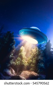 Low key image of UFO hovering over a forest at night with light beam