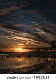 Low key landscape at sunrise in Horsens, Denmark