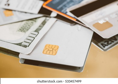 Low key macro shot with credit card.