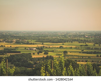 low land, small villages and agriculture fields, Friuli, Italy