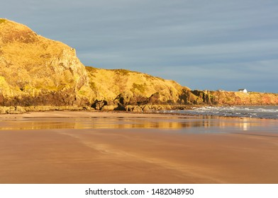 The low late evening Winter sun glows against the Rocks and Cliffs at the northern end of St Cyrus beach, which is situated in a Nature Reserve in Aberdeenshire.