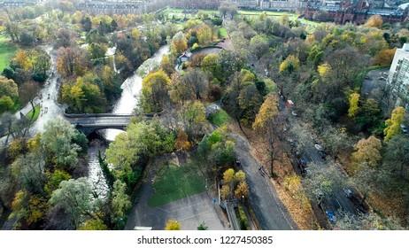 Low level aerial image over Kelvingrove Park in Glasgow,