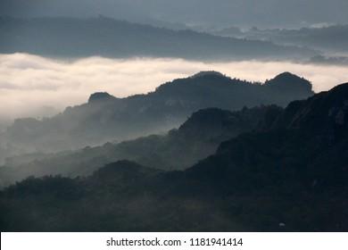 Low Level Stratus Cloud covering Toraja Utara into a thick Layer of Fog, Toraja, Sulawesi, Indonesia