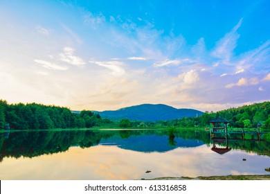 Low light of Cashiers lake at Cashiers city, Asheville, North Carolina, USA