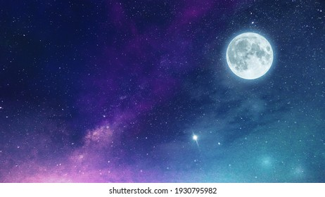 Low light and long exposure photography of the infinite deep space cosmos. Grainy texture and soft-focus background. Night sky Milky way with full Moon and universe constellation s in the background.  - Shutterstock ID 1930795982